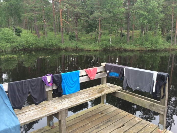 Hittade en fantastisk skogsgöl i norra Ronneby som var både bad- och klädestvättvänlig. Tältade i närheten. Tyst men ändå så centralt. Rätt coolt faktiskt.